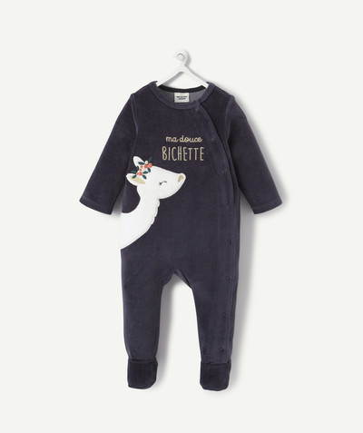 Essentials : 50% off 2nd item* family - NAVY BLUE VELVET SLEEPSUIT IN ORGANIC COTTON
