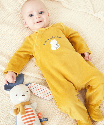 Essentials : 50% off 2nd item* family - ZIPPED MUSTARD SLEEPSUIT IN ORGANIC COTTON