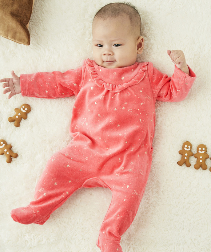 Essentials : 50% off 2nd item* family - PINK SLEEP SUIT WITH GOLDEN STARS