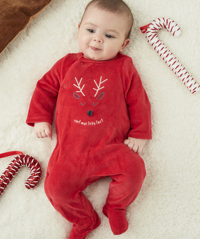 Essentials : 50% off 2nd item* family - RED SLEEPSUIT IN ORGANIC COTTON WITH A REINDEER DESIGN