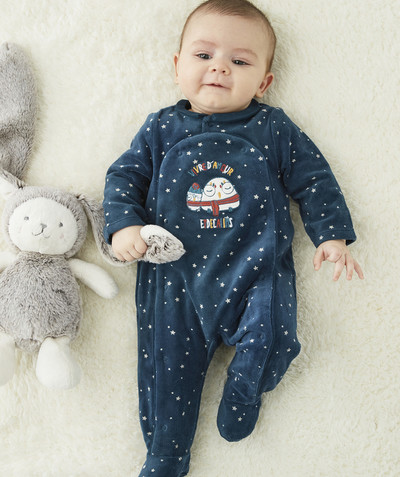 All collection radius - SLEEPSUIT IN ORGANIC COTTON VELVET WITH PRINTED STARS