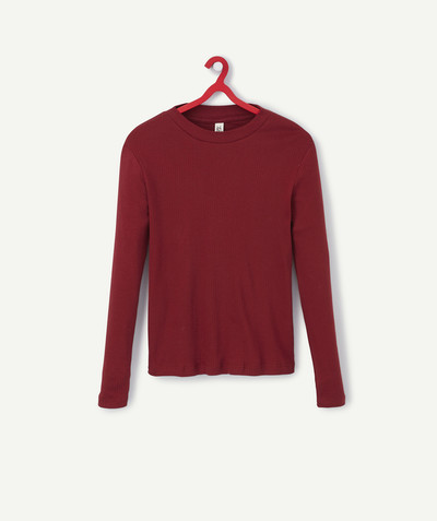 All collection Sub radius in - RED HIGH NECK T-SHIRT IN ORGANIC COTTON