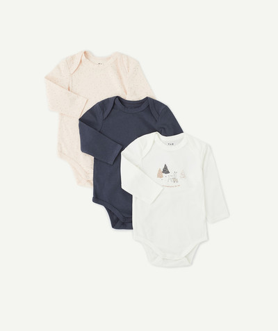 Essentials : 50% off 2nd item* family - THREE PINK, NAVY BLUE AND WHITE BODIES IN ORGANIC COTTON