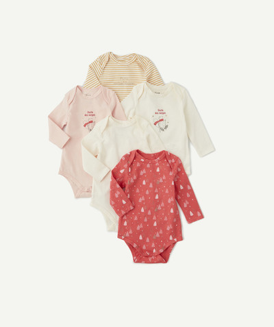 Essentials : 50% off 2nd item* family - PACK OF FIVE PINK WHITE AND YELLOW BODIES IN ORGANIC COTTON
