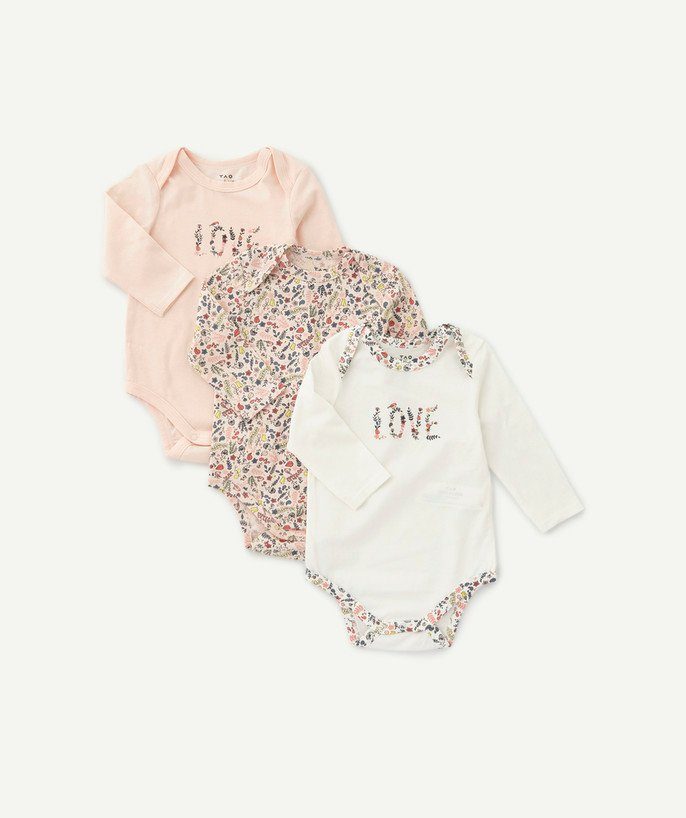 Bodysuit radius - THREE PINK AND WHITE FLOWER-PATTERNED BODIES IN ORGANIC COTTON