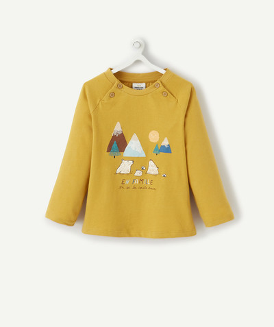 All collection radius - MUSTARD-COLOURED MOUNTAIN DESIGN T-SHIRT