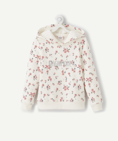 All Collection radius - CREAM FLOWER-PATTERNED SWEATSHIRT WITH A HOOD