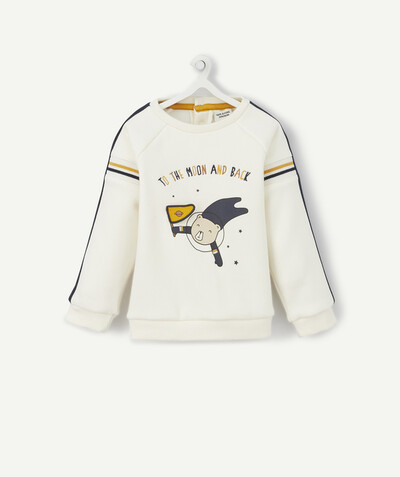 All collection radius - WHITE EMBROIDERED AND FLOCKED SWEATSHIRT WITH INSERTS