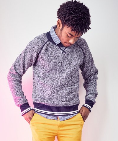 Teen Boy radius - SPECKLE-PATTERNED JUMPER WITH STRIPED RIBBING