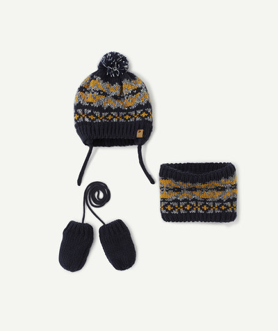Accessories radius - NAVY BLUE AND YELLOW HAT, SNOOD AND MITTENS SET