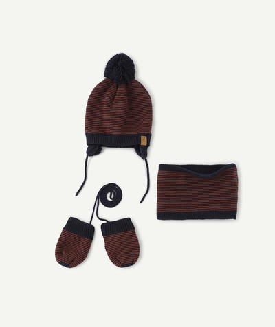 All collection radius - NAVY BLUE AND RED STRIPED SET WITH HAT, SNOOD AND MITTENS LINED IN SHERPA