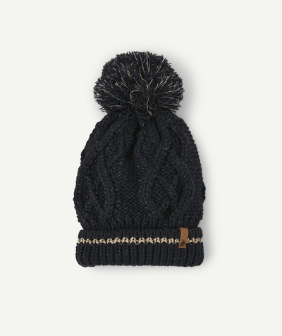 All Collection radius - NAVY BLUE AND GOLDEN HAT WITH A POMPOM
