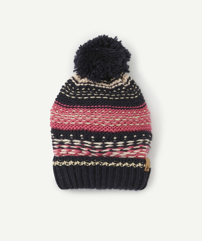 All Collection radius - NAVY BLUE AND PINK KNIT HAT