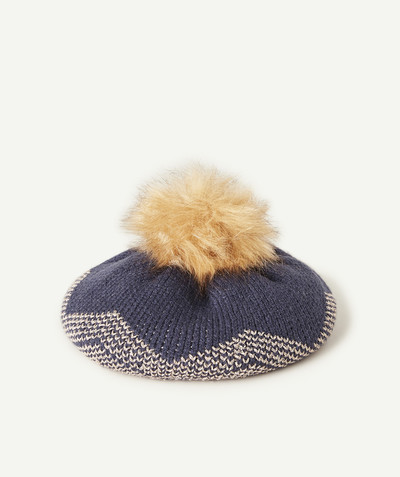 All Collection radius - NAVY BLUE AND GOLD BERET WITH A POMPOM
