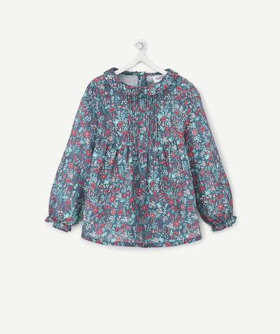 Shirt - Blouse radius - GREEN FLOWER-PATTERNED BLOUSE WITH A PETER PAN COLLAR