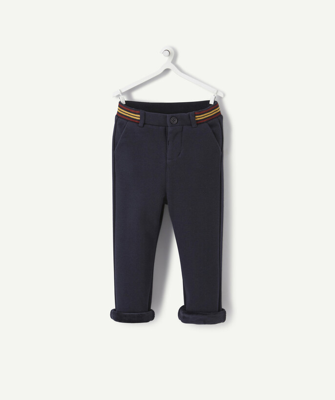 All collection radius - NAVY BLUE CHINO TROUSERS BRUSHED INSIDE