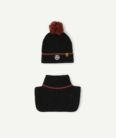 Outlet radius - BLACK SPECKLED SET WITH HAT AND SNOOD
