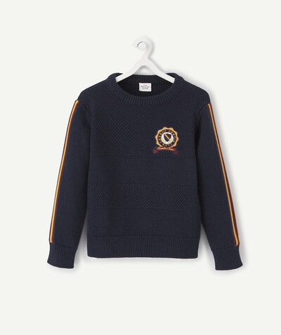 Outlet radius - NAVY BLUE COLLEGE-STYLE KNITTED JUMPER