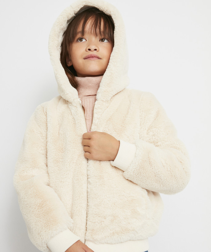 Coat - Padded jacket - Jacket radius - CREAM JACKET IN IMITATION FUR