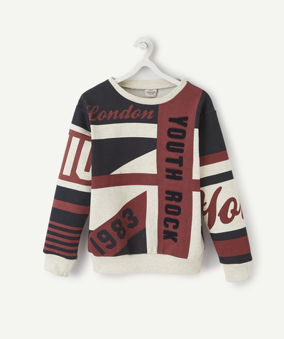Sweatshirt radius - SWEATSHIRT WITH A PRINTED FLAG AND A MESSAGE IN BOUCLE