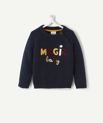 Knitwear radius - VERY SOFT NAVY BLUE KNITTED JUMPER WITH A BOUCLE MESSAGE