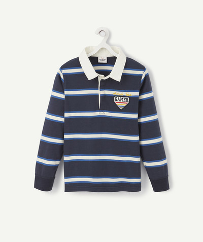 Outlet radius - STRIPED POLO SHIRT WITH NAVY BLUE AND CREAM PATCHES