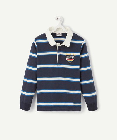 T-shirt  radius - STRIPED POLO SHIRT WITH NAVY BLUE AND CREAM PATCHES