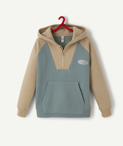 Teen Boy radius - GREEN AND CAMEL SWEATSHIRT WITH A HOOD