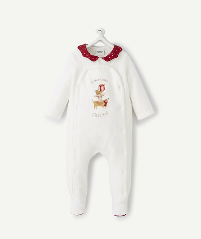Essentials : 50% off 2nd item* family - CHRISTMAS SLEEPSUIT IN ORGANIC COTTON WITH A BURGUNDY COLLAR