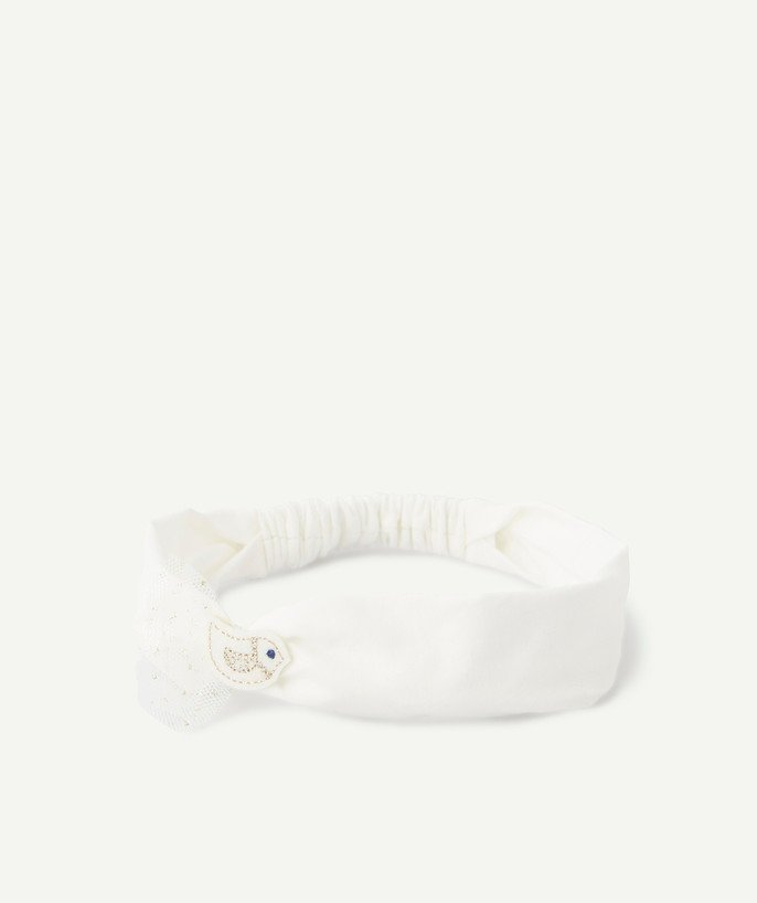 Baby-girl radius - WHITE HAIRBAND WITH AN EMBROIDERED PATCH AND TULLE