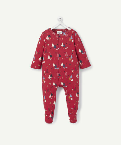 All collection radius - BURGUNDY-COLOURED LINED CHRISTMAS SLEEPSUIT IN ORGANIC COTTON