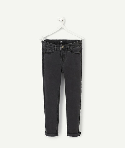 Jeans radius - STRAIGHT GREY JEANS WITH BANDS OF SEQUINS
