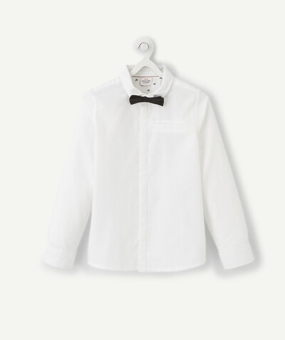 Outlet radius - WHITE SHIRT IN COTTON WITH A REMOVABLE BOW TIE