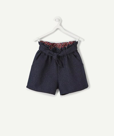 All Collection radius - HIGH-WAISTED SHORTS IN NAVY BLUE BROADCLOTH