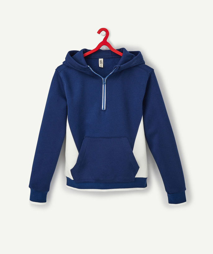 Sweat Rayon - LE SWEAT À CAPUCHE BLEU COLOR BLOCK