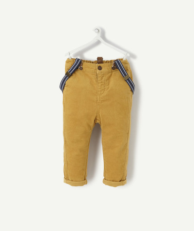 All collection radius - MUSTARD-COLOURED VELVET TROUSERS WITH BRACES