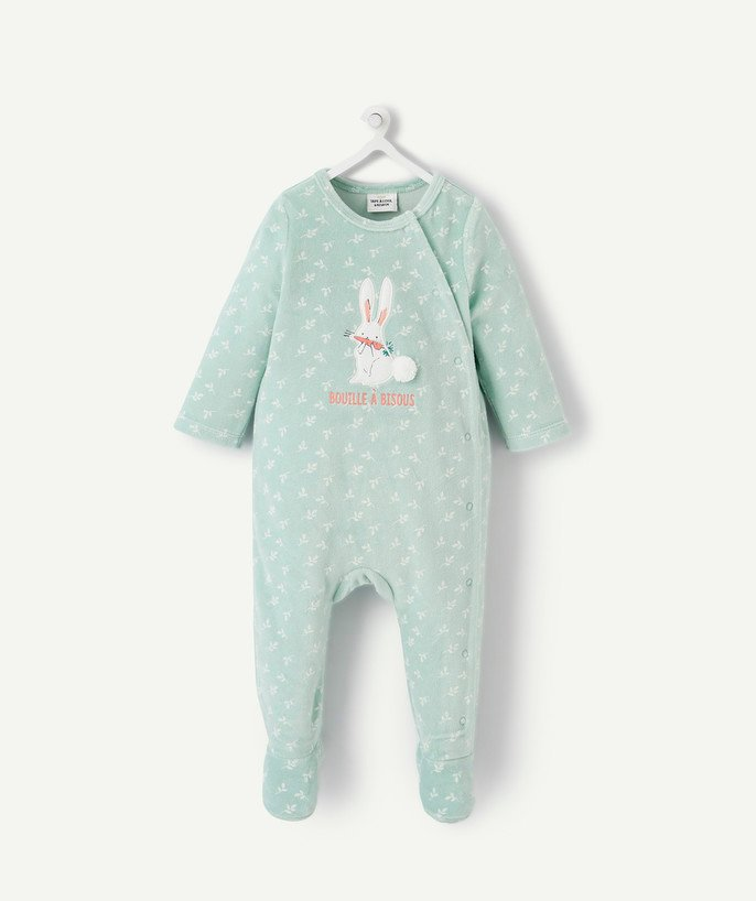 Essentials : 50% off 2nd item* family - GREEN EMBROIDERED SLEEPSUIT IN ORGANIC COTTON