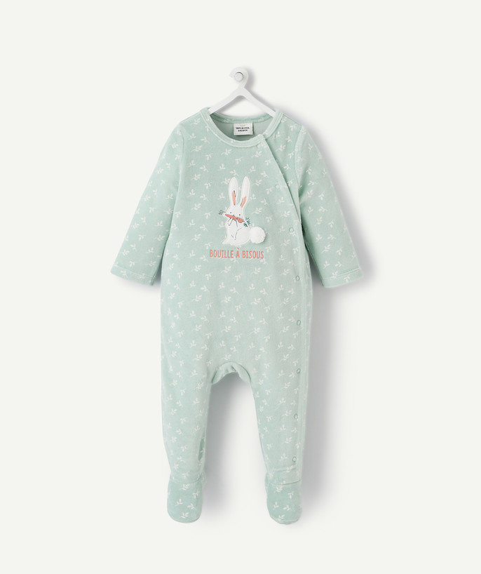 Sleepsuit - Pyjamas radius - GREEN EMBROIDERED SLEEPSUIT IN ORGANIC COTTON