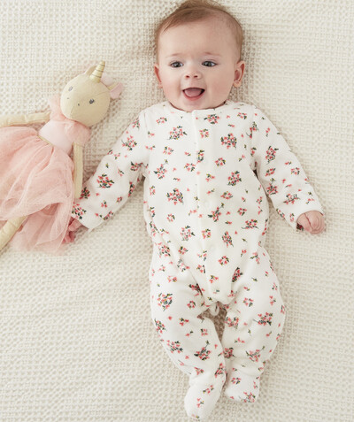 New collection radius - FLOWER-PATTERNED VELVET SLEEPSUIT IN ORGANIC COTTON