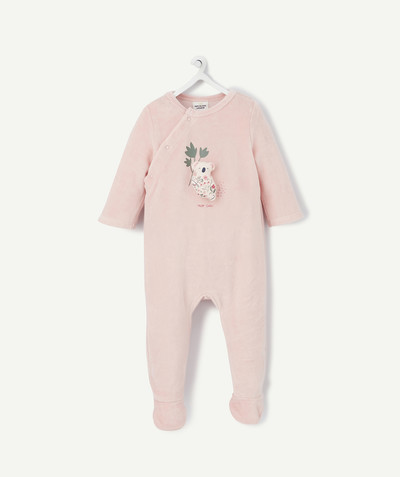 ECODESIGN radius - PINK VELVET SLEEPSUIT IN ORGANIC COTTON WITH A 3D DESIGN