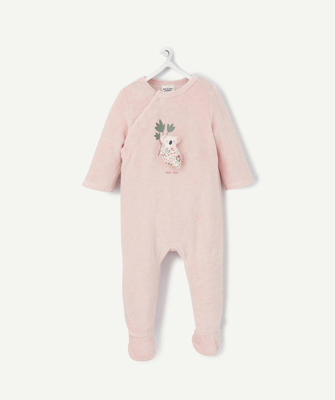 Sleepsuit - Pyjamas radius - PINK VELVET SLEEPSUIT IN ORGANIC COTTON WITH A 3D DESIGN