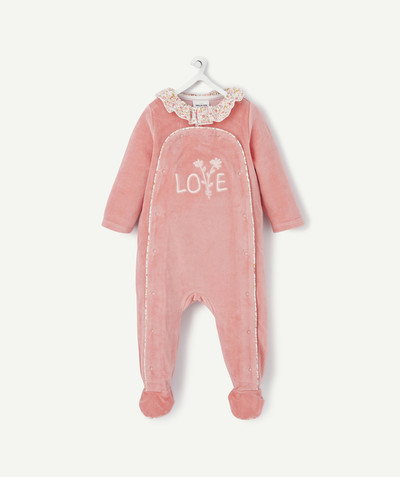 ECODESIGN radius - PINK VELVET SLEEPSUIT IN ORGANIC COTTON