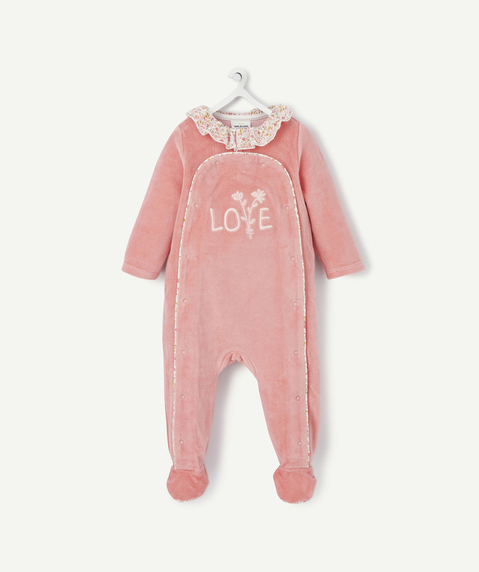 Sleepsuit - Pyjamas radius - PINK VELVET SLEEPSUIT IN ORGANIC COTTON