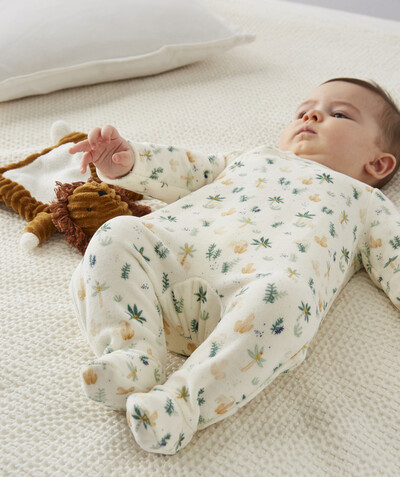 Newborn Boy radius - VELVET SLEEPSUIT WITH AN OASIS PRINT IN ORGANIC COTTON