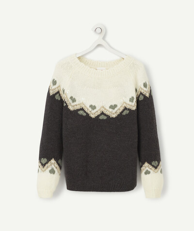 Knitwear radius - CREAM AND CHARCOAL JACQUARD KNIT JUMPER