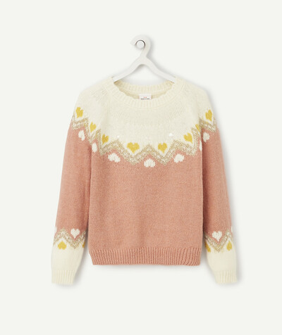 Knitwear radius - JUMPER IN A CREAM AND PINK JACQUARD KNIT