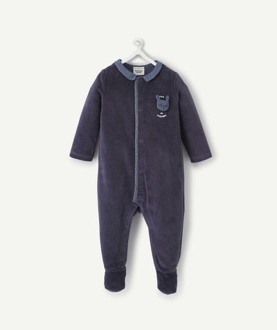 Newborn Boy radius - ORGANIC SLEEPSUIT IN ORGANIC COTTON WITH CHAMBRAY AND VELVET