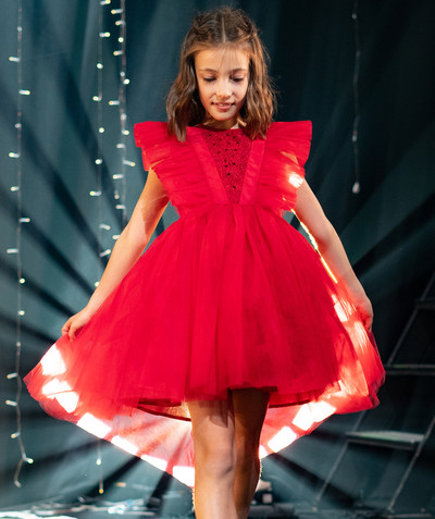 All Collection radius - DESIGNER DRESS 2020 - IN RED TULLE AND SEQUINS