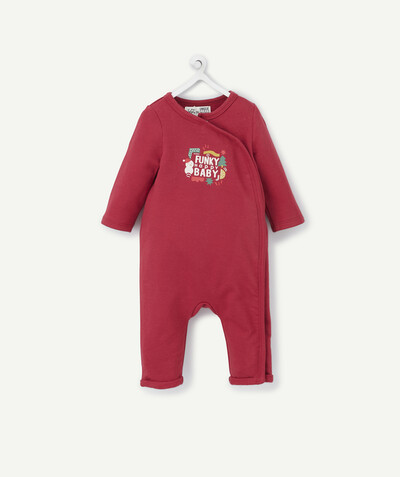 Clothing radius - BURGUNDY CHRISTMAS JUMPSUIT IN ORGANIC COTTON