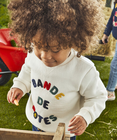 All collection radius - WHITE BANDE DE POTES SWEATSHIRT IN ORGANIC COTTON